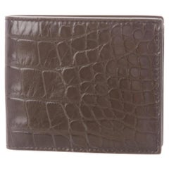 Gucci NEW Cognac Brown Crocodile Exotic Leather Men's Bifold Wallet in Box