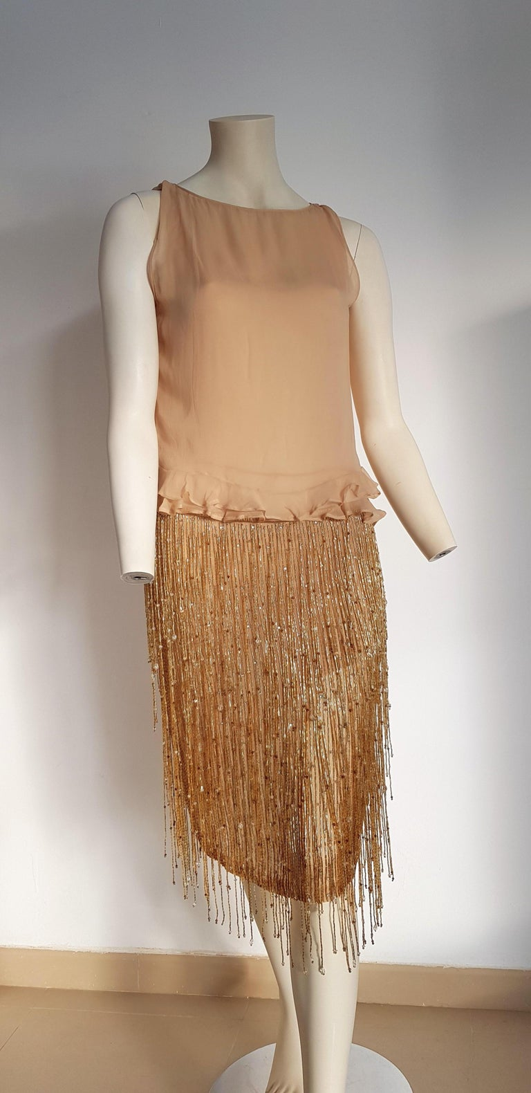 GUCCI Haute Couture Swarovski Diamonds Beaded Silk Top Skirt  - Unworn, New with tags.  SIZE: equivalent to about S/M, please review approx measurements as follows in cm.  TOP: lenght 50, chest underarm to underarm 45, bust circumference 86,