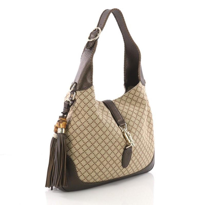 6f5583b9d85742 Gucci New Jackie Handbag Diamante Canvas Medium at 1stdibs