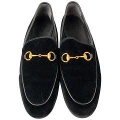 GUCCI New Jordaan Size 10 Black Velvet Horsebit Loafers