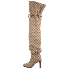 Gucci NEW Monogram Canvas Brown Leather Tie Logo Tall Thigh High Boots in Box