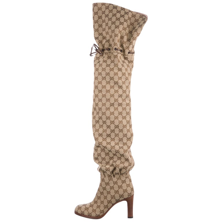 a35f34794 Gucci NEW Monogram Canvas Brown Leather Tie Logo Tall Thigh High Boots in Box  For Sale