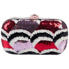 Gucci NEW Red Purple Black Sequin Crystal Box Evening Top Handle Clutch Bag