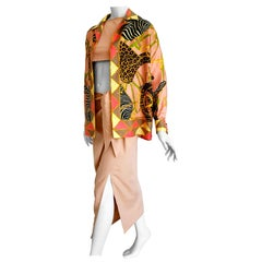 "GUCCI ""New"" Safari Theme Unique Design Jacket Top Skirt Silk Ensemble - Unworn"