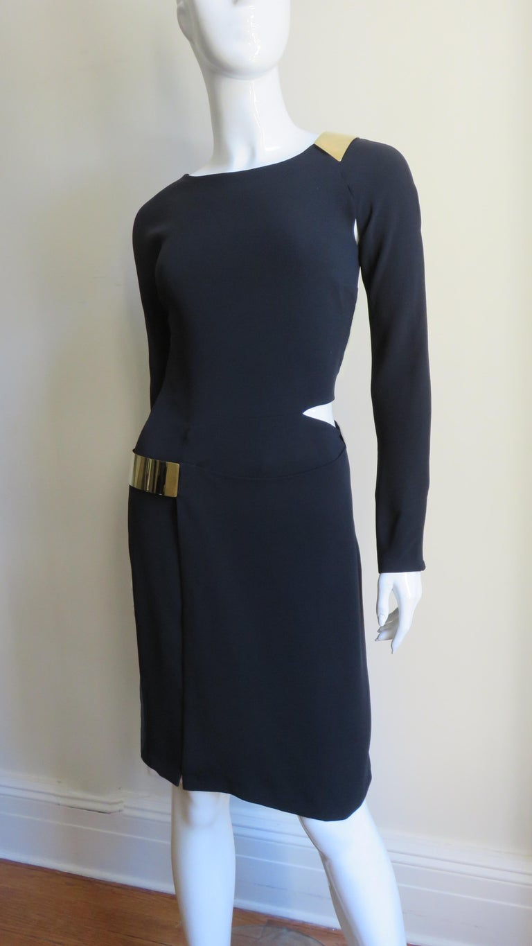 Gucci New Silk Dress with Cut outs and Hardware For Sale 5