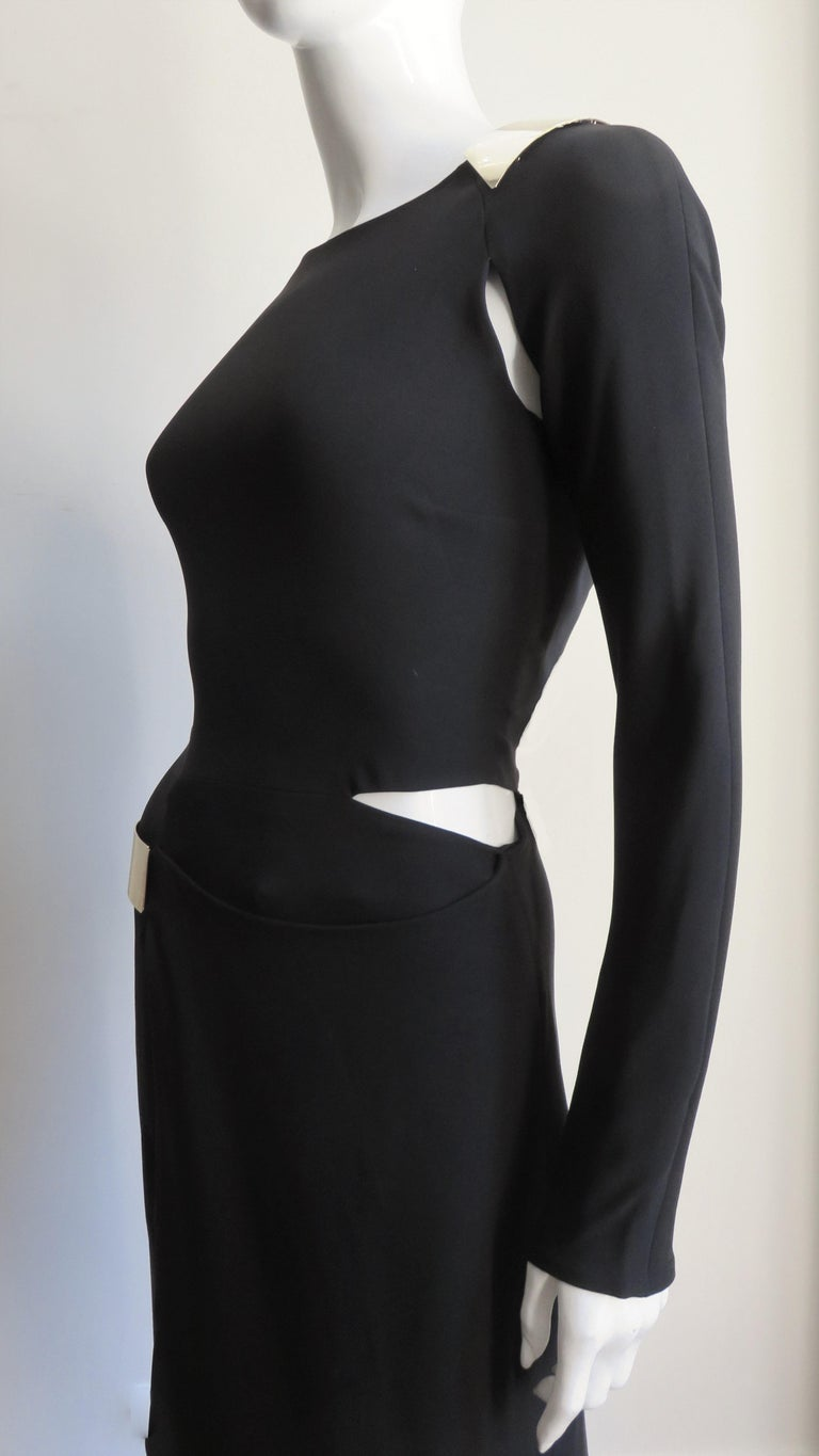 Gucci New Silk Dress with Cut outs and Hardware For Sale 6