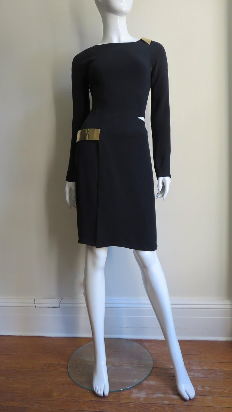 Gucci New Silk Dress with Cut outs and Hardware For Sale 8