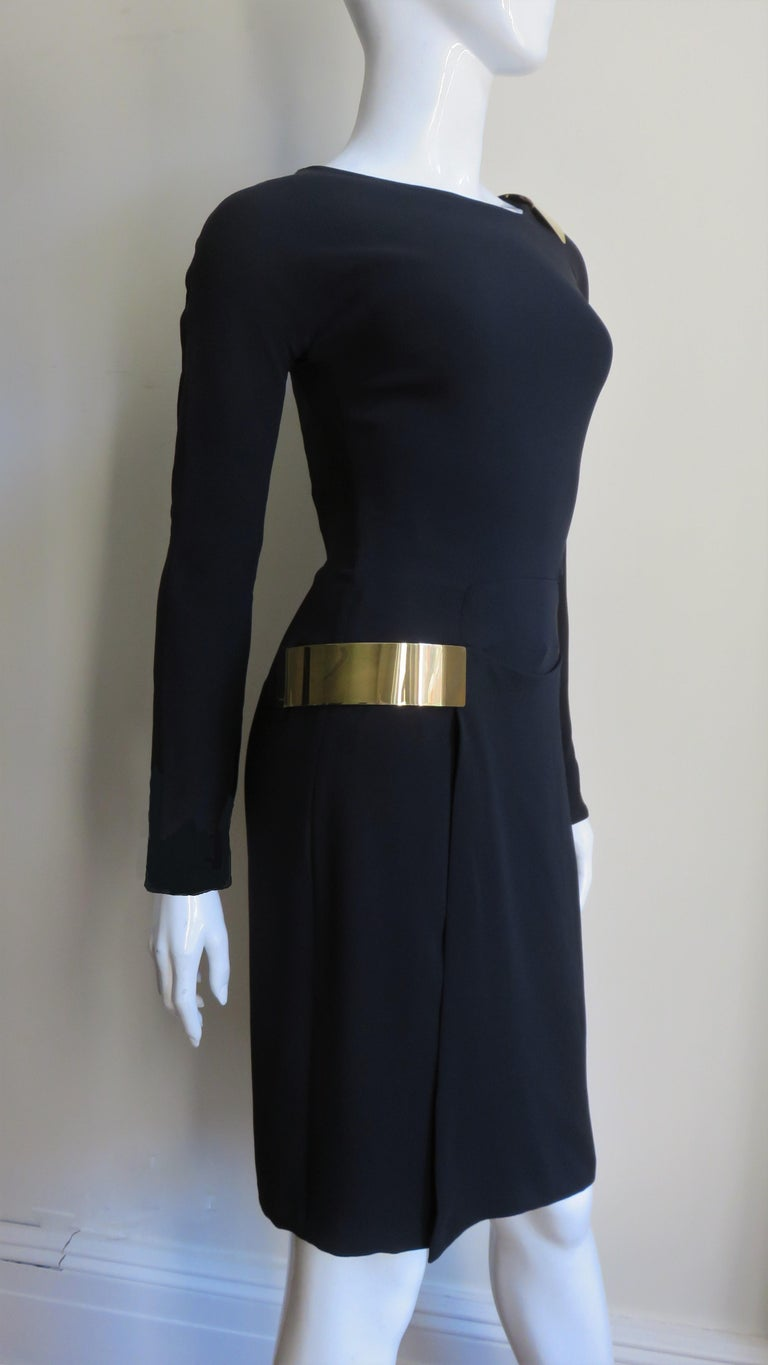 Gucci New Silk Dress with Cut outs and Hardware For Sale 9