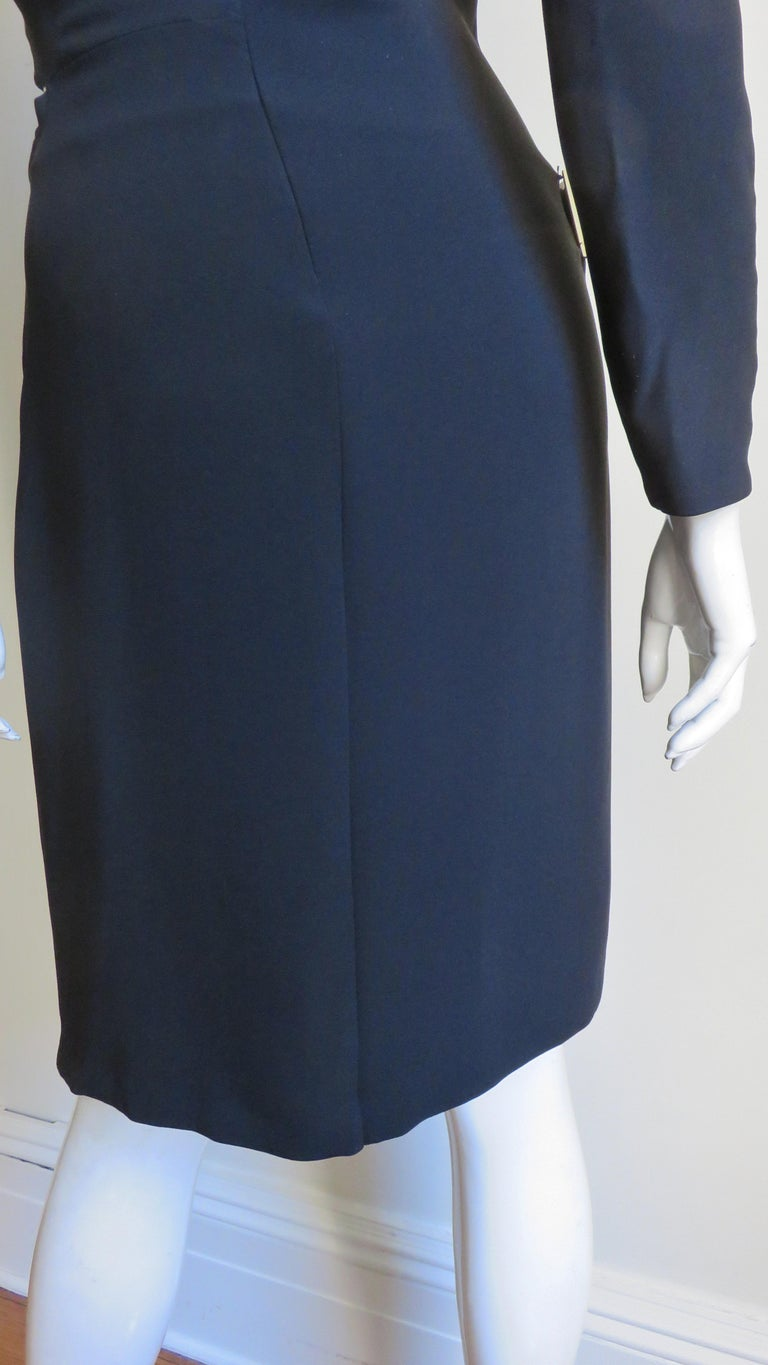Gucci New Silk Dress with Cut outs and Hardware For Sale 12