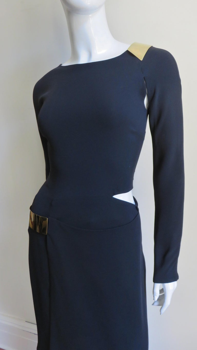 Black Gucci New Silk Dress with Cut outs and Hardware For Sale
