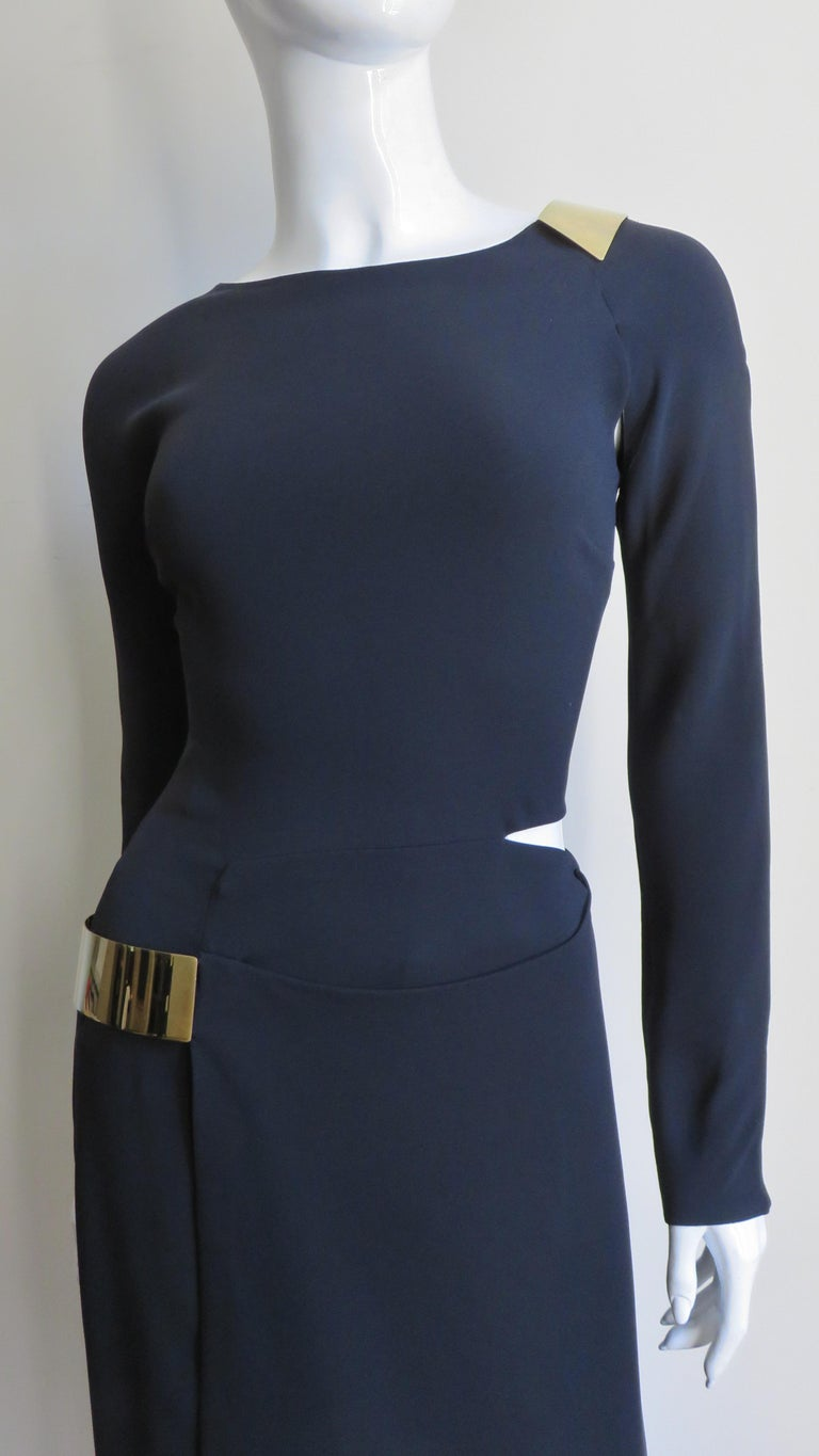 Gucci New Silk Dress with Cut outs and Hardware In New Condition For Sale In New York, NY