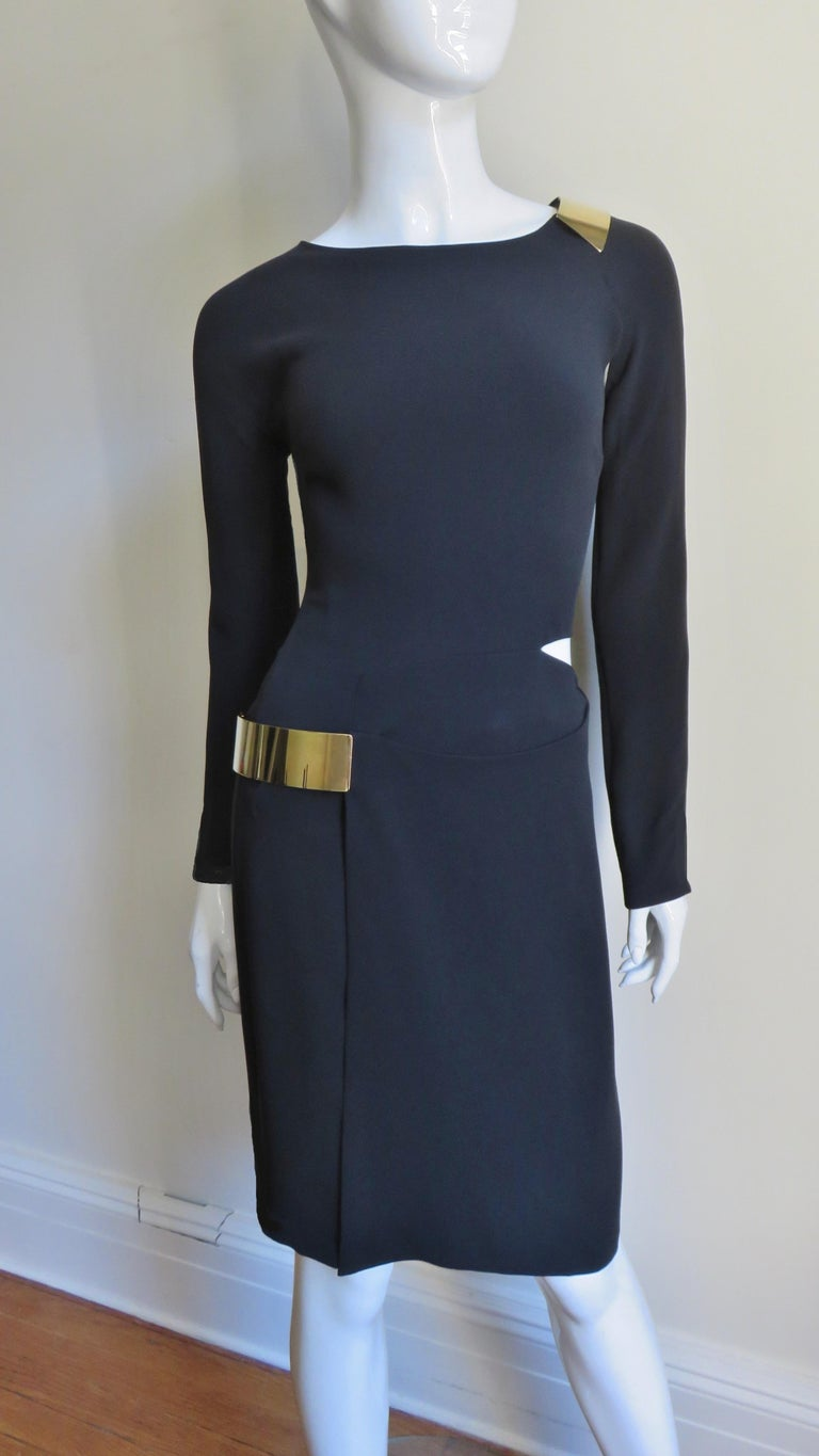 Gucci New Silk Dress with Cut outs and Hardware For Sale 2