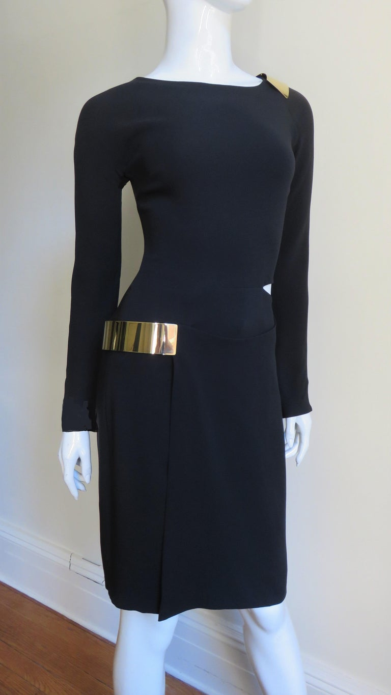 Gucci New Silk Dress with Cut outs and Hardware For Sale 3