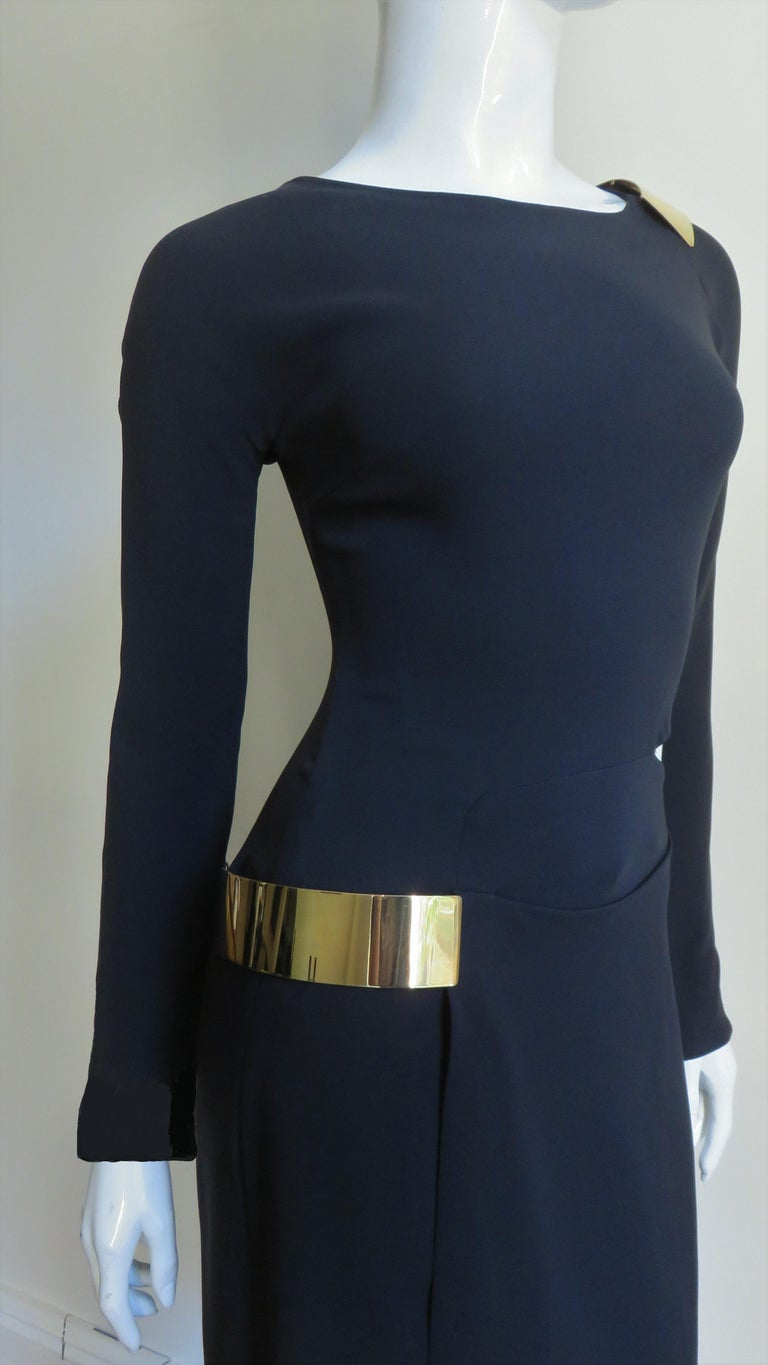 Gucci New Silk Dress with Cut outs and Hardware For Sale 4