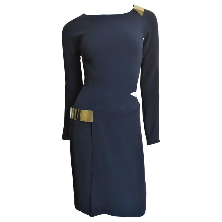 Gucci New Silk Dress with Cut outs and Hardware For Sale