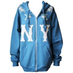 Gucci + New York Yankees Appliquéd Cotton-Jersey Hooded Sweatshirt