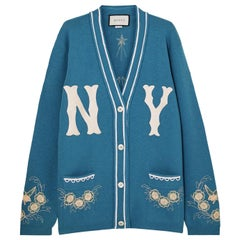 Gucci + New York Yankees Oversized Appliquéd Wool Cardigan