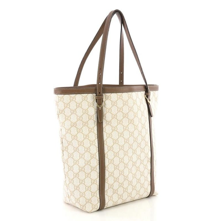 Beige Gucci Nice Tote GG Coated Canvas Tall For Sale