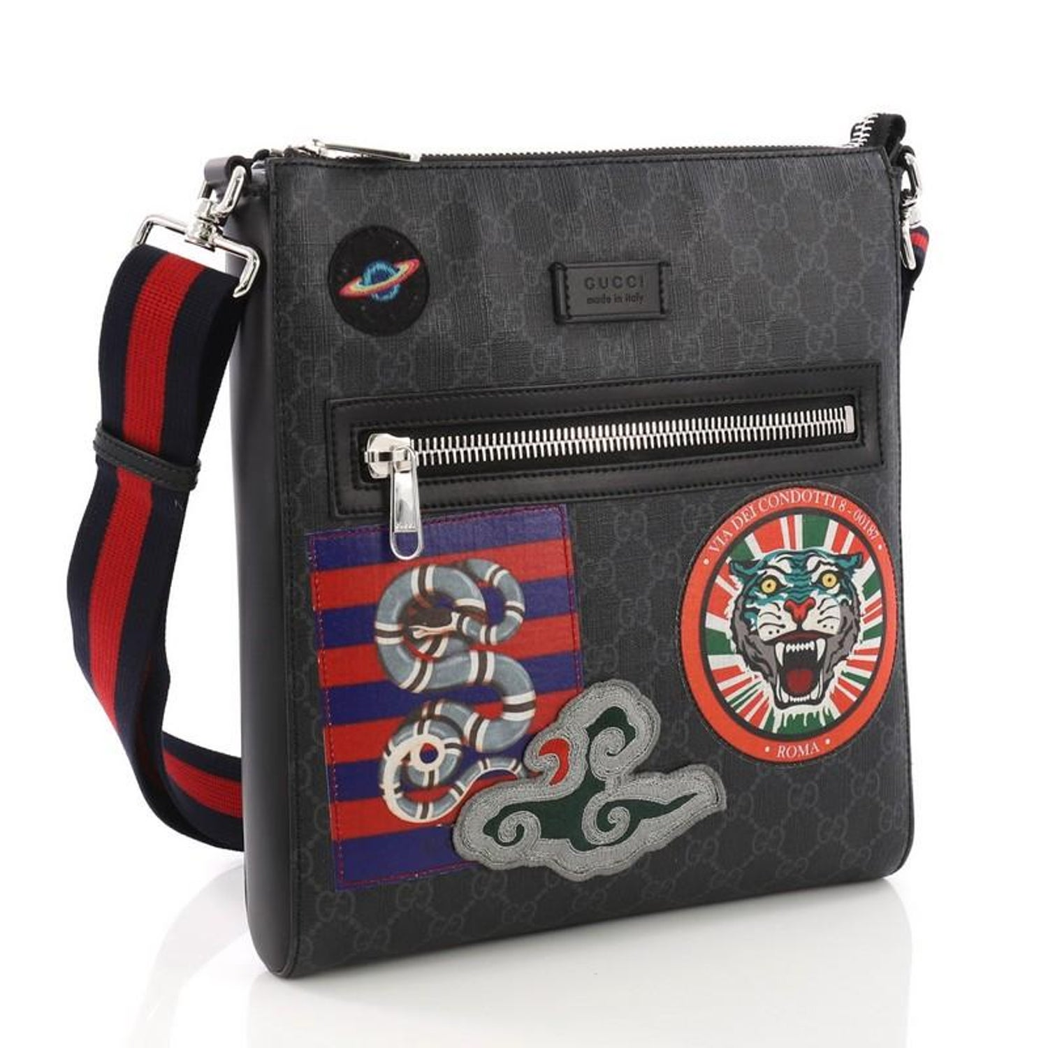 20d6e484de78 Gucci Night Courrier Zip Messenger GG Coated Canvas with Applique Medium at  1stdibs