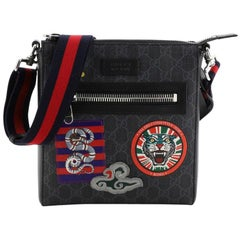 Gucci Night Courrier Zip Messenger GG Coated Canvas with Applique Small