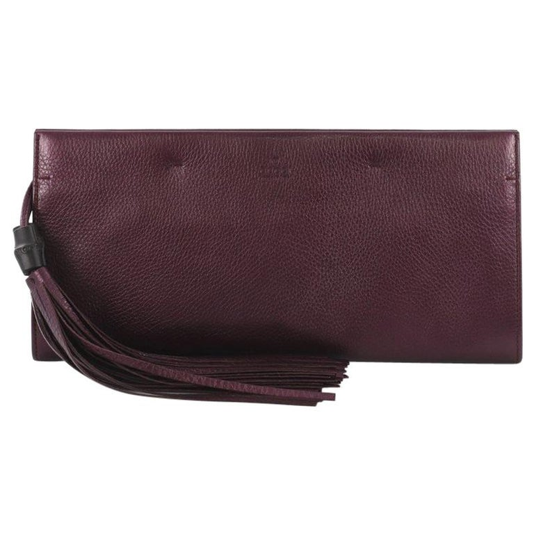 73c02c84e01e Gucci Nouveau Clutch with Tassels Leather Large For Sale at 1stdibs