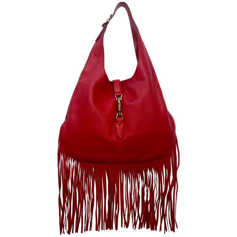 "Gucci Nouveau ""Jackie"" Red Leather Fringe Hobo Bag For Sale"
