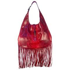 """Gucci Nouveau """"Jackie"""" Red Python Fringe Hobo Bag"""