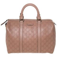 Gucci Nude Beige Guccissima Leather Medium Joy Boston Bag