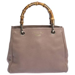 Gucci Nude Beige Leather Bamboo Handle Tote