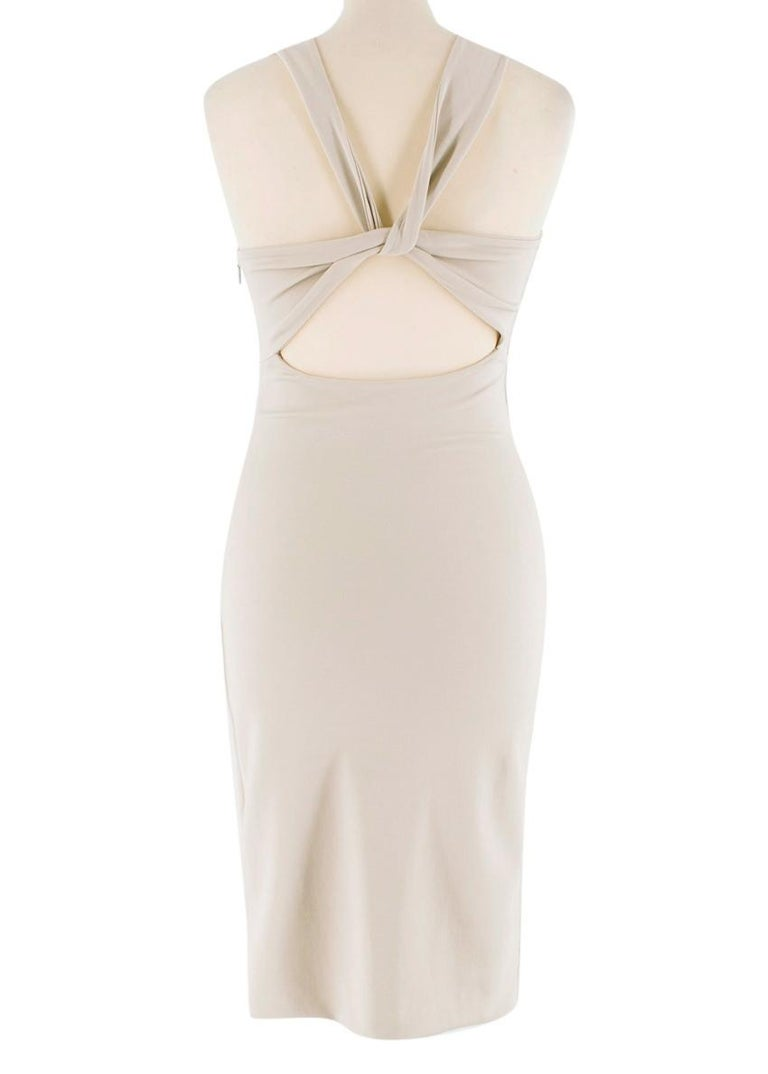 Beige Gucci Nude Fitted Knot Back Dress S For Sale
