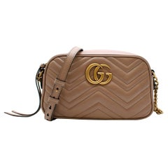 Gucci Nude Leather GG Marmont Matelasse Crossbody Bag