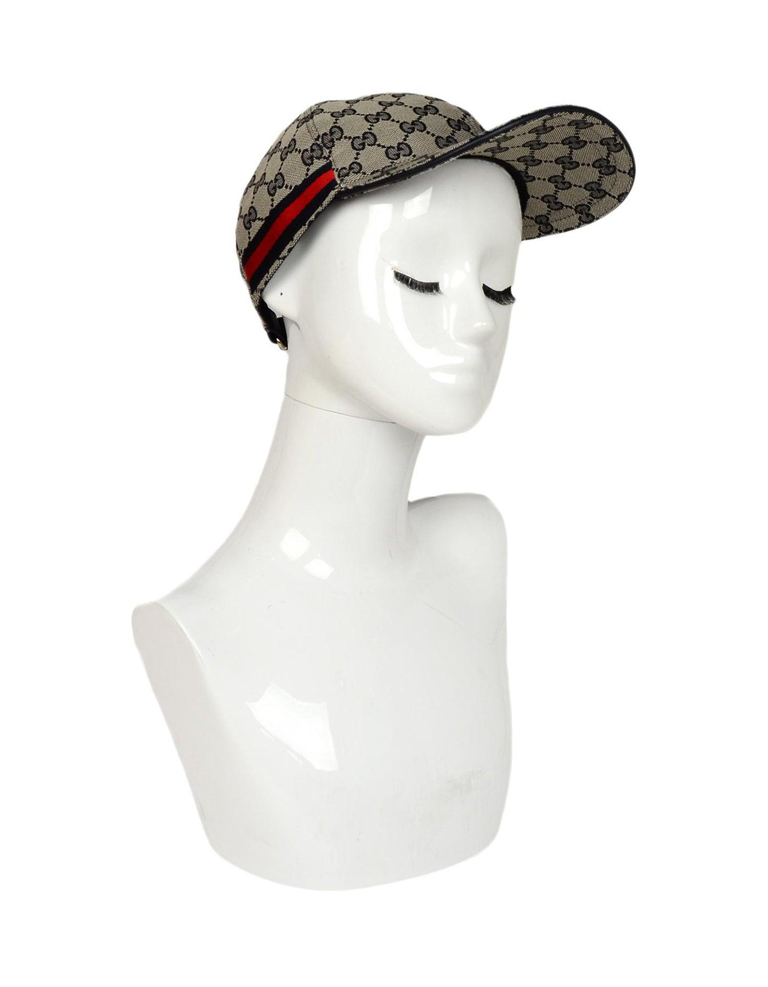 3f36e8ca8c73d Gucci NWT Navy Monogram Original GG Canvas Baseball Cap Hat W  Web Unisex  Sz M For Sale at 1stdibs