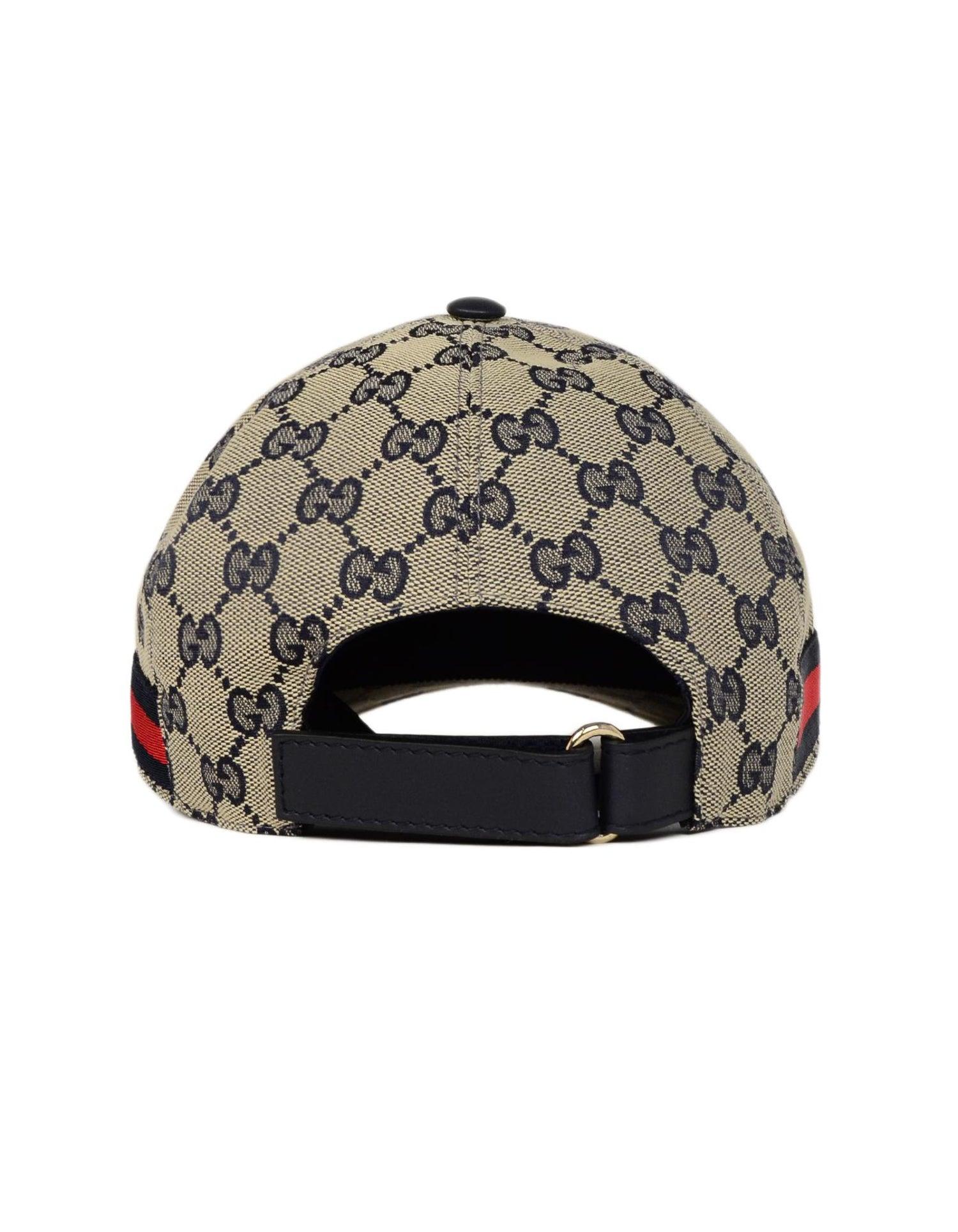 f157f28e6cc27 Gucci NWT Navy Monogram Original GG Canvas Baseball Cap Hat W  Web Unisex  Sz M For Sale at 1stdibs