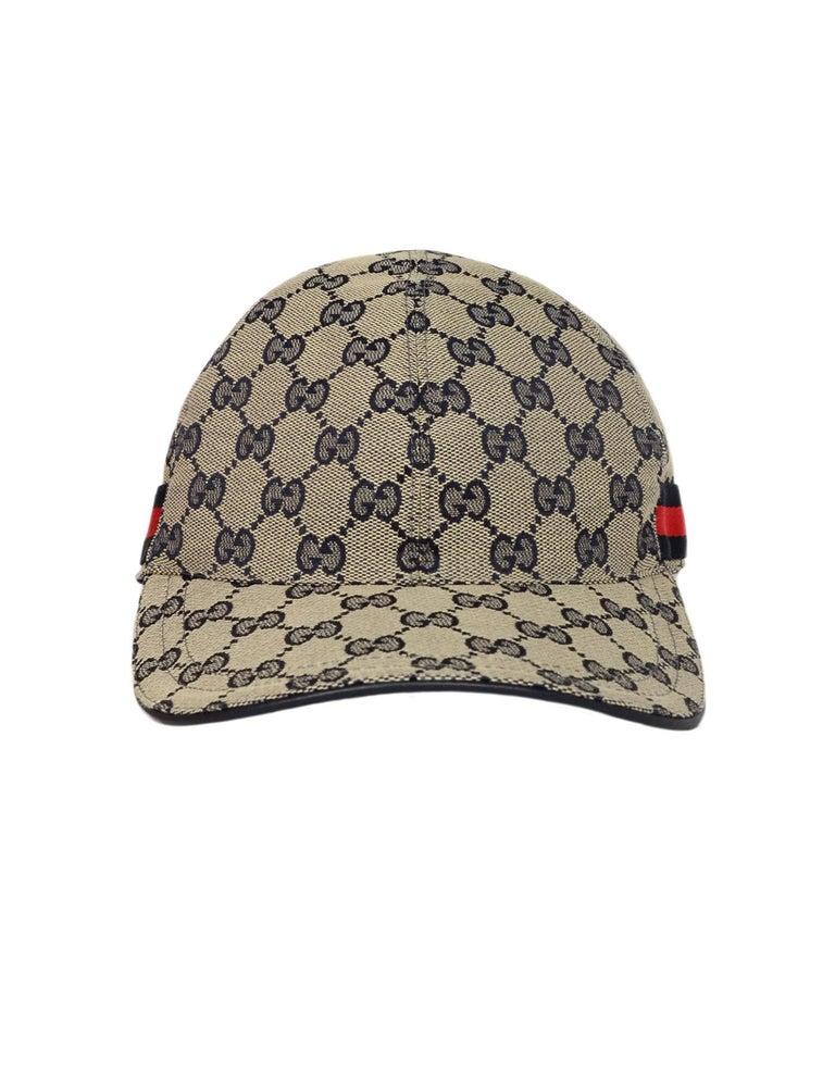 fc3d60d6bd62f Gucci NWT Navy Monogram Original GG Canvas Baseball Cap Hat W  Web Unisex Sz