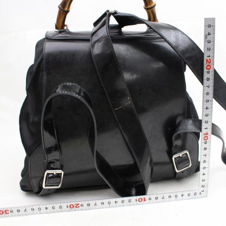 87fa40c1db7f Gucci Nylon Bamboo 867648 Black Patent Leather Backpack For Sale at ...