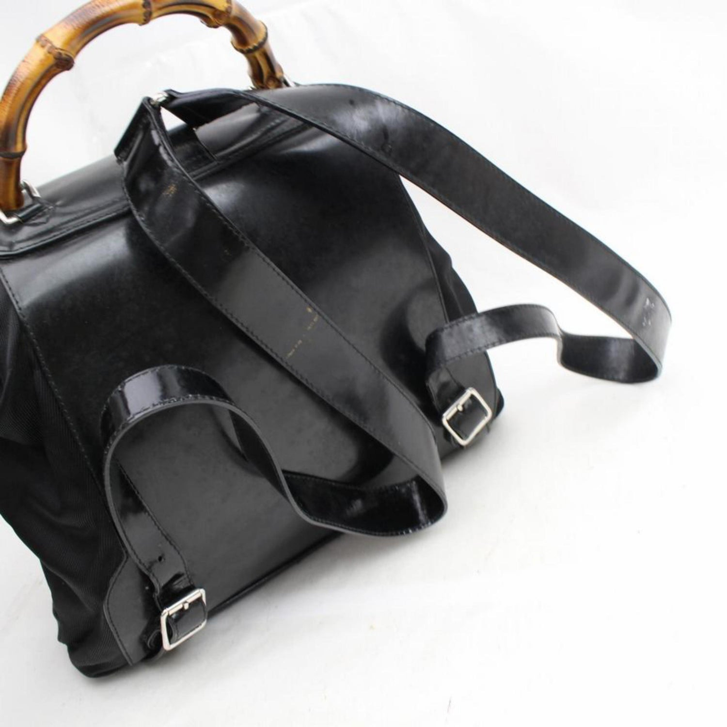 3c6d33b4f221 Gucci Nylon Bamboo 867648 Black Patent Leather Backpack For Sale at 1stdibs