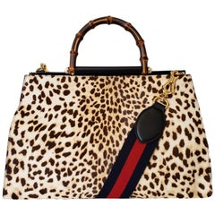 GUCCI Nymphaea Leopard Print Large Leather Bag