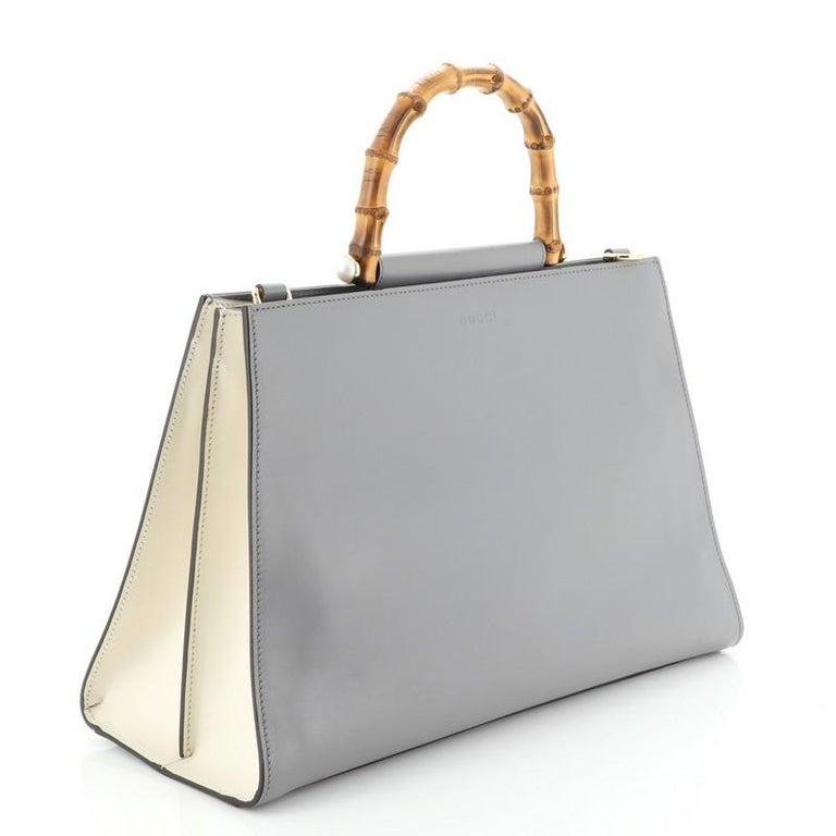 Gucci Nymphaea Top Handle Bag Leather Medium In Good Condition For Sale In New York, NY