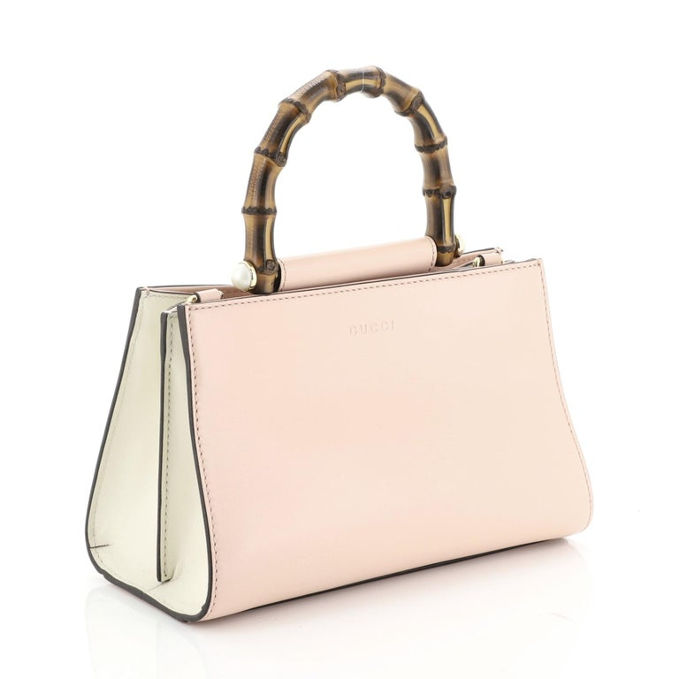 White Gucci Nymphaea Top Handle Bag Leather Mini For Sale