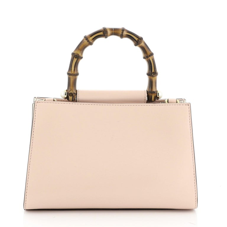 Gucci Nymphaea Top Handle Bag Leather Mini In Good Condition For Sale In New York, NY