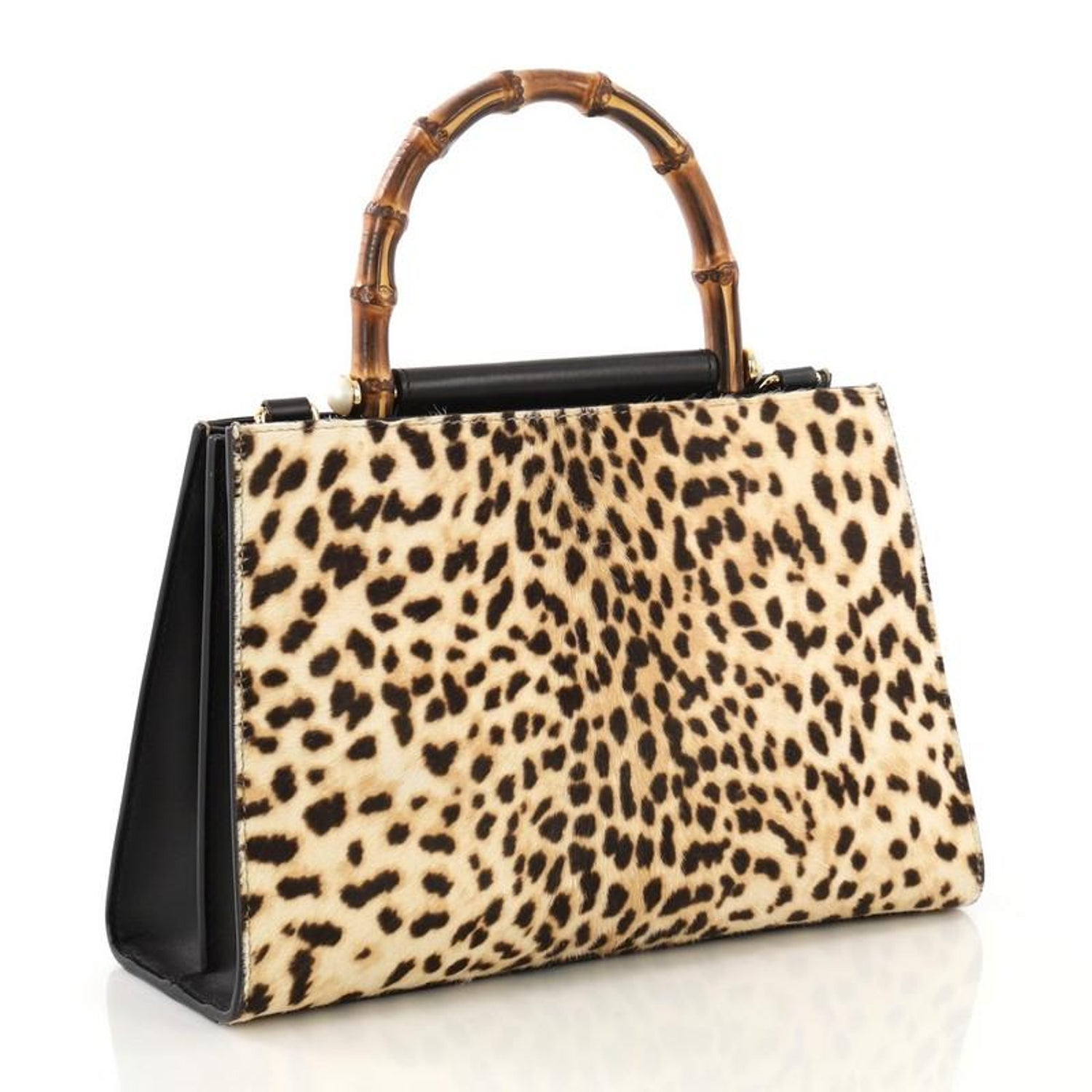 ca36ef6c5 Gucci Nymphaea Top Handle Bag Printed Calf Hair Small at 1stdibs