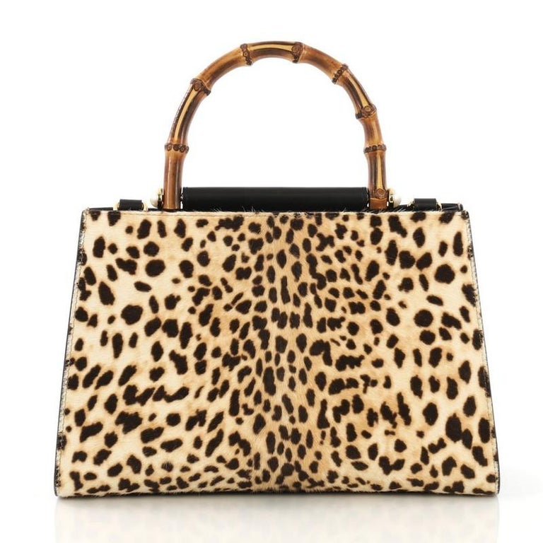 2491d7875e0 Gucci Nymphaea Top Handle Bag Printed Calf Hair Small In Good Condition For  Sale In New