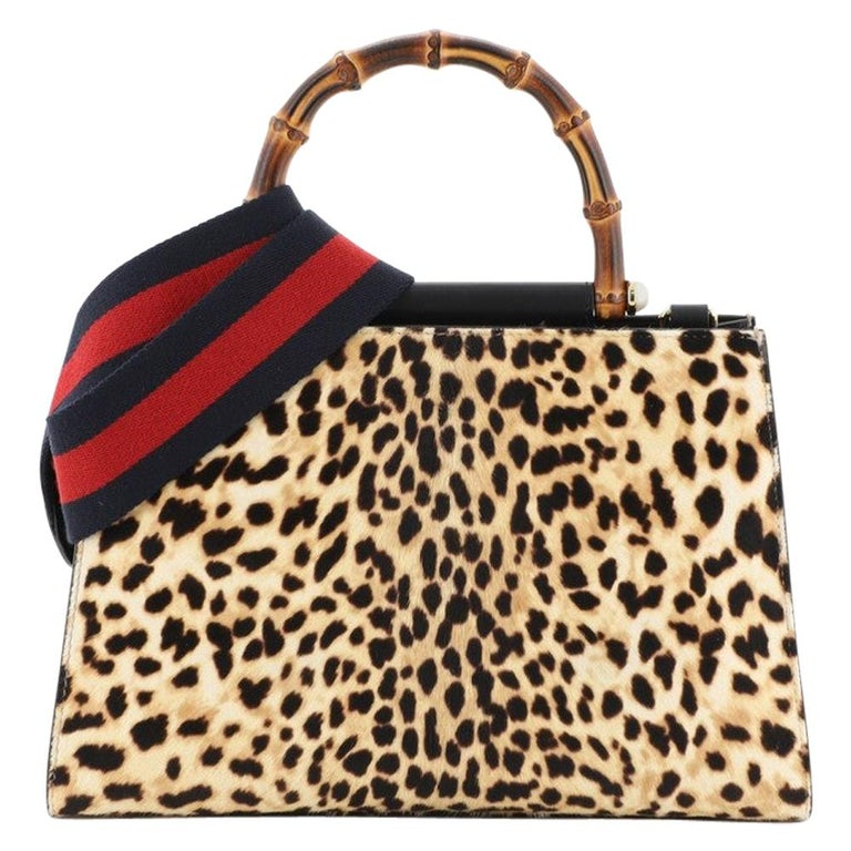 Gucci Nymphaea Top Handle Bag Printed Calf Hair Small