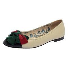 Gucci Off White/Black Leather Web Bow Cap Toe Ballet Flats Size 37
