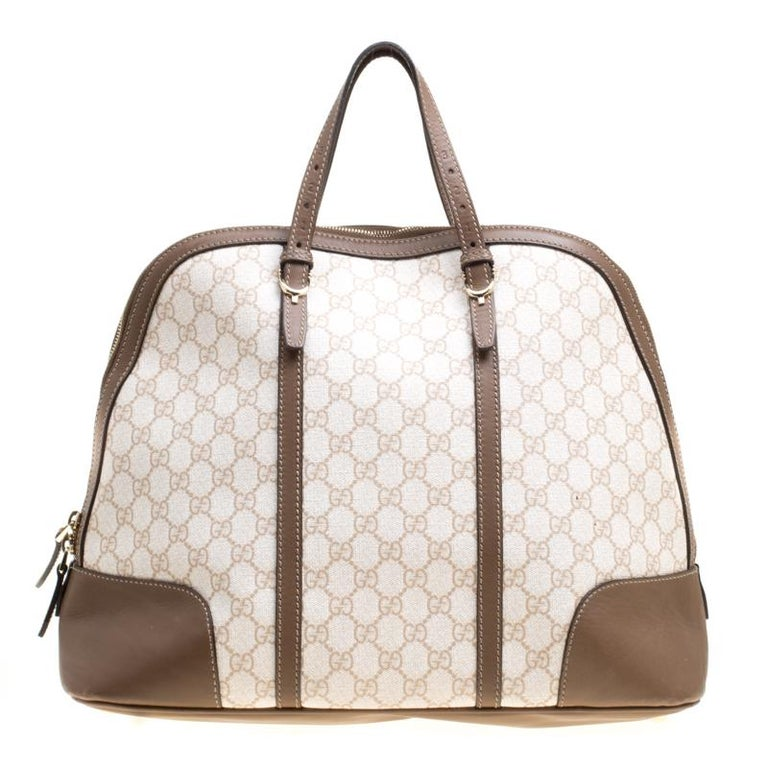 81a466927584cc Gucci Off White/Brown GG Supreme Canvas and Leather Large Nice Top Handle  Bag For