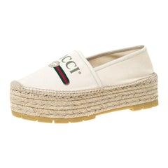 Gucci Off White Canvas Logo Platform Espadrilles Size 39.5