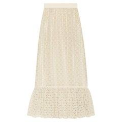 GUCCI off-white cotton GG MACRAME Long Skirt S