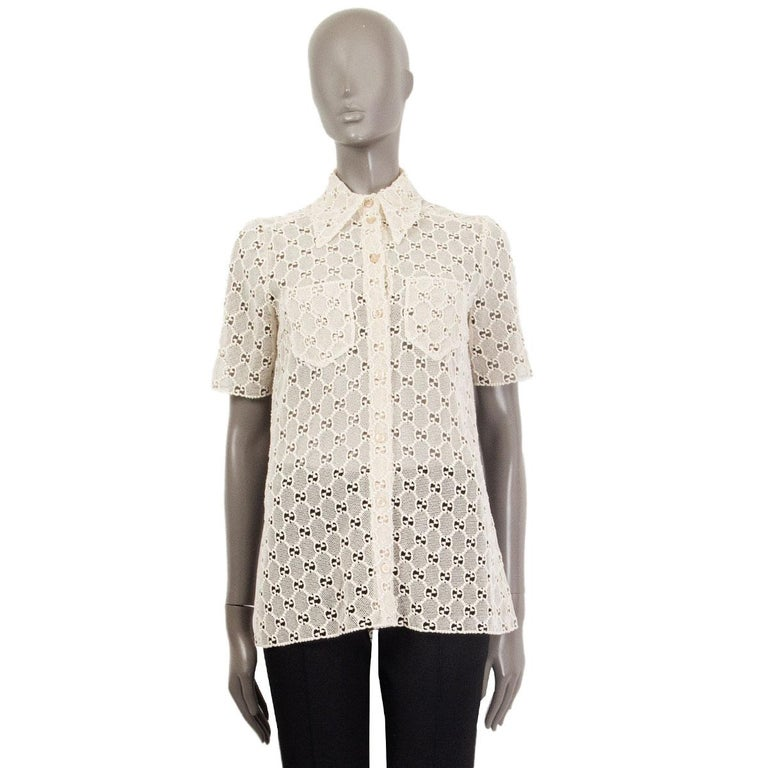 White GUCCI off-white cotton GG MACRAME Short Sleeve Button Up Shirt Blouse 40 S For Sale
