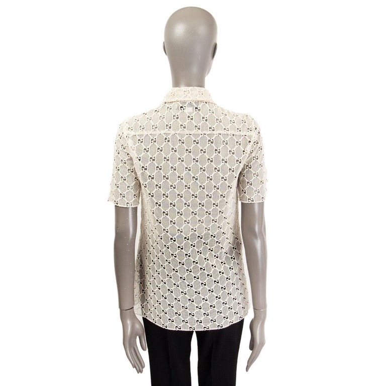 Women's GUCCI off-white cotton GG MACRAME Short Sleeve Button Up Shirt Blouse 40 S For Sale