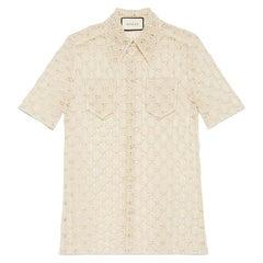 GUCCI off-white cotton GG MACRAME Short Sleeve Button Up Shirt Blouse 40 S